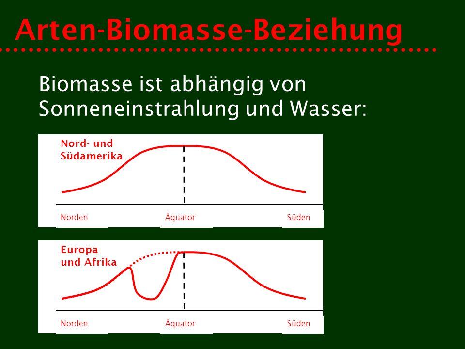 Arten-Biomasse-Beziehung Biomasse ist abhängig von Sonneneinstrahlung und Wasser: Nord- und Südamerika NordenSüdenÄquator Europa und Afrika NordenSüdenÄquator