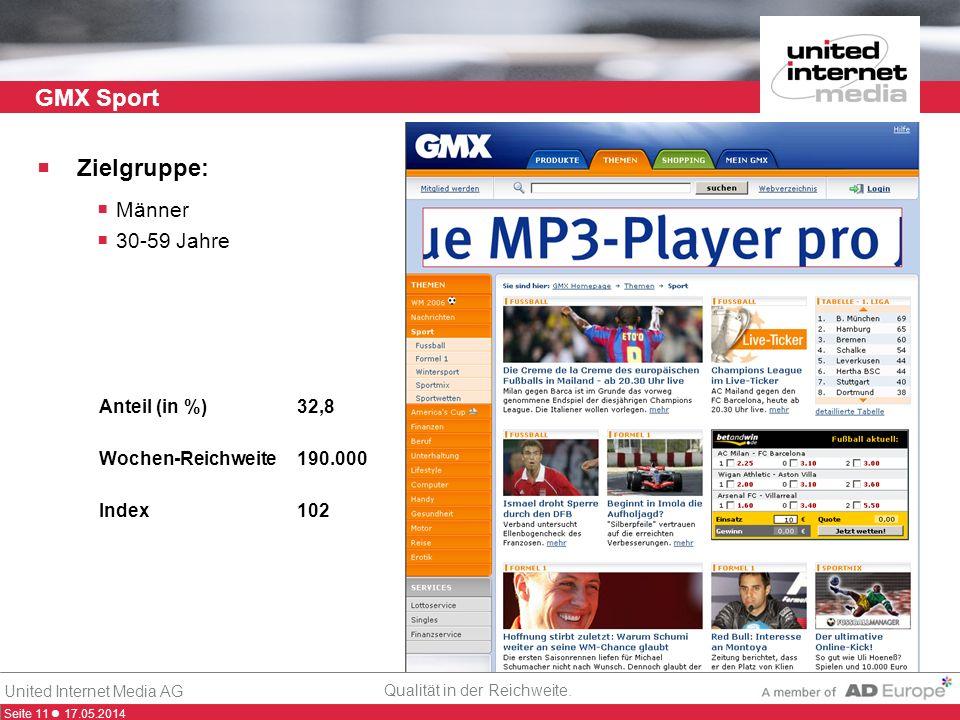 Seite 11 17.05.2014 Qualität in der Reichweite. United Internet Media AG GMX Sport Zielgruppe: Männer 30-59 Jahre Anteil (in %)32,8 Wochen-Reichweite1