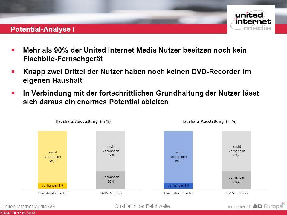 Seite 3 17.05.2014 Qualität in der Reichweite. United Internet Media AG Potential-Analyse I Mehr als 90% der United Internet Media Nutzer besitzen noc