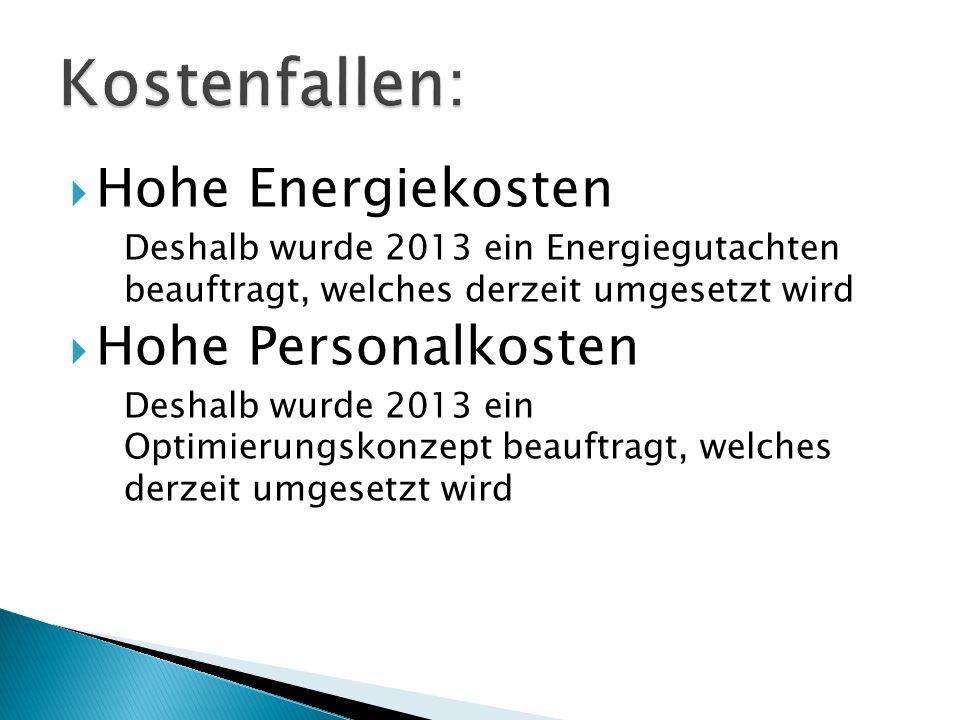 Hohe Energiekosten Deshalb wurde 2013 ein Energiegutachten beauftragt, welches derzeit umgesetzt wird Hohe Personalkosten Deshalb wurde 2013 ein Optimierungskonzept beauftragt, welches derzeit umgesetzt wird