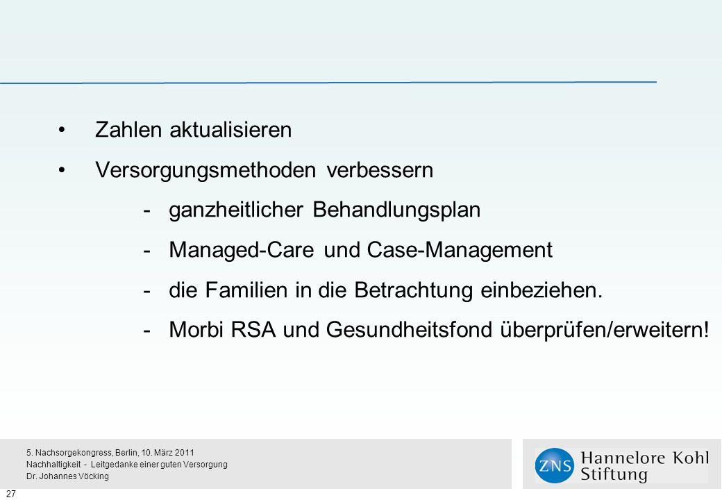 Zahlen aktualisieren Versorgungsmethoden verbessern - ganzheitlicher Behandlungsplan - Managed-Care und Case-Management -die Familien in die Betrachtung einbeziehen.