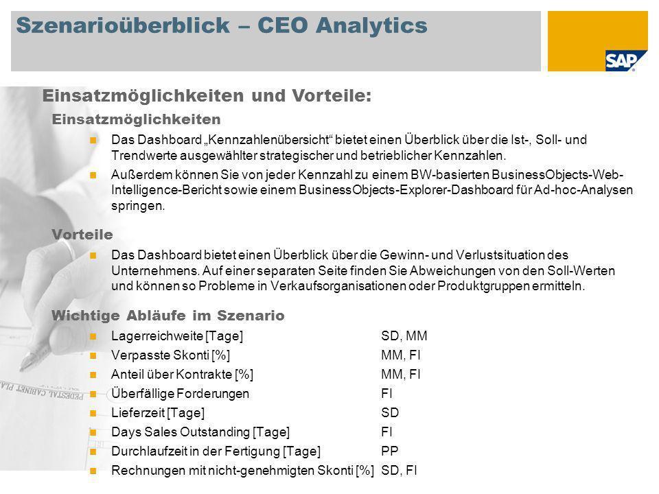 Szenarioüberblick – CEO Analytics Einsatzmöglichkeiten Das Dashboard Kennzahlenübersicht bietet einen Überblick über die Ist-, Soll- und Trendwerte au