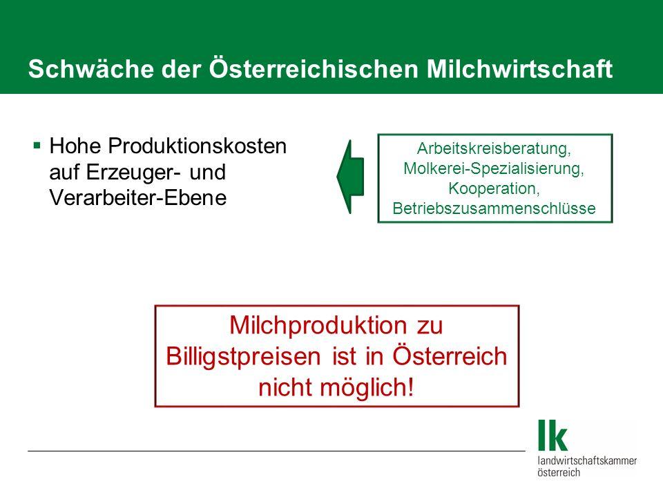 Schwäche der Österreichischen Milchwirtschaft Hohe Produktionskosten auf Erzeuger- und Verarbeiter-Ebene Arbeitskreisberatung, Molkerei-Spezialisierun
