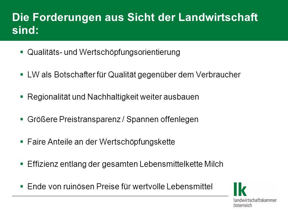 Die Forderungen aus Sicht der Landwirtschaft sind: Qualitäts- und Wertschöpfungsorientierung LW als Botschafter für Qualität gegenüber dem Verbraucher
