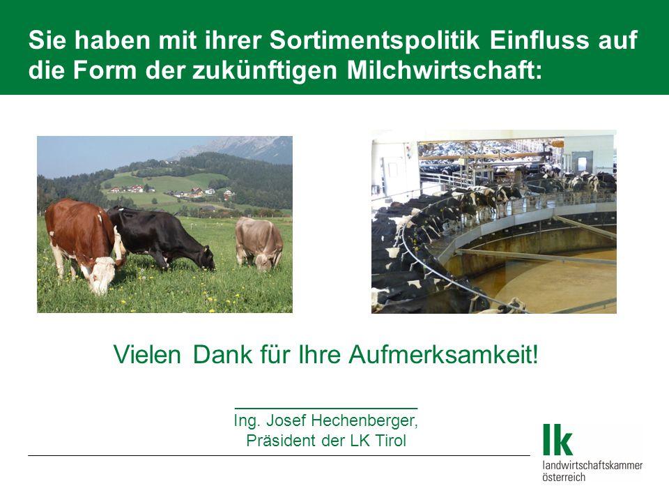 Sie haben mit ihrer Sortimentspolitik Einfluss auf die Form der zukünftigen Milchwirtschaft: Vielen Dank für Ihre Aufmerksamkeit! ____________________