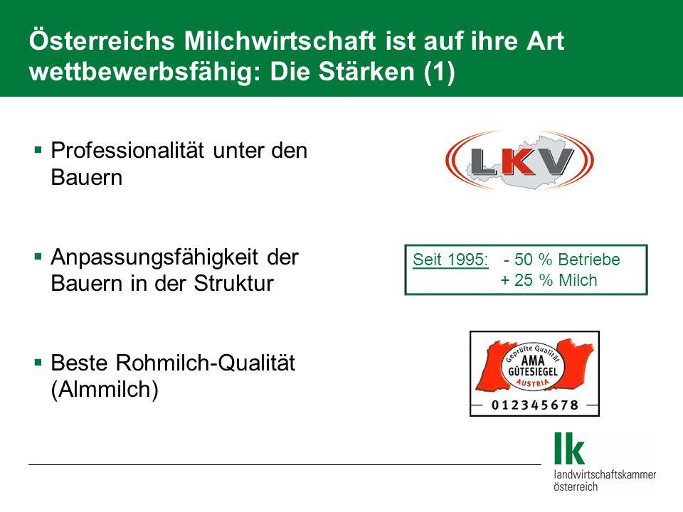 Österreichs Milchwirtschaft ist auf ihre Art wettbewerbsfähig: Die Stärken (1) Professionalität unter den Bauern Anpassungsfähigkeit der Bauern in der