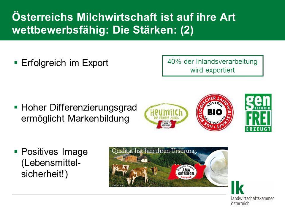 Schwäche der Österreichischen Milchwirtschaft Hohe Produktionskosten auf Erzeuger- und Verarbeiter-Ebene Arbeitskreisberatung, Molkerei-Spezialisierung, Kooperation, Betriebszusammenschlüsse Milchproduktion zu Billigstpreisen ist in Österreich nicht möglich!
