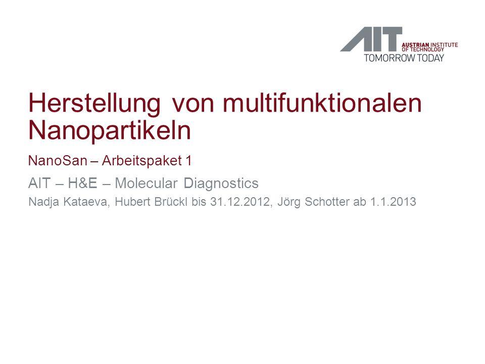 Herstellung von multifunktionalen Nanopartikeln NanoSan – Arbeitspaket 1 AIT – H&E – Molecular Diagnostics Nadja Kataeva, Hubert Brückl bis 31.12.2012, Jörg Schotter ab 1.1.2013