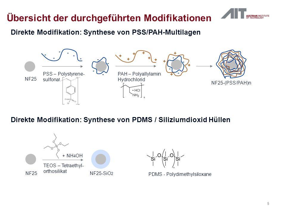 Direkte Modifikation Übersicht der durchgeführten Modifikationen PDMS Siliziumdioxid PSS/PAH-Multilagen Ergebnisse + Umhüllung Nanofer Partikel erfolgreich Agglomerationsprobleme Hülle nicht wasserlöslich Primärpartikel zu klein (optimale Primärpartikelgröße unterer µm-Bereich) Direkte Modifikation nicht weiter verfolgt 6