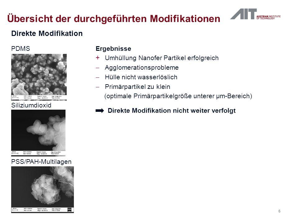 Direkte Modifikation Übersicht der durchgeführten Modifikationen PDMS Siliziumdioxid PSS/PAH-Multilagen Ergebnisse + Umhüllung Nanofer Partikel erfolg