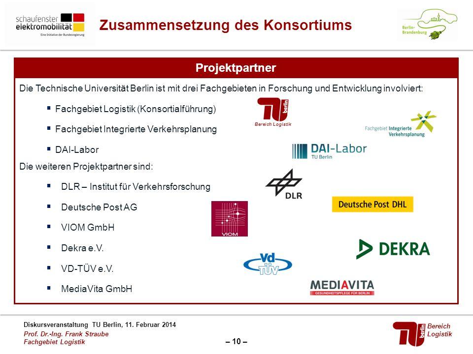 – 10 – Diskursveranstaltung TU Berlin, 11. Februar 2014 Prof. Dr.-Ing. Frank Straube Fachgebiet Logistik Bereich Logistik Zusammensetzung des Konsorti
