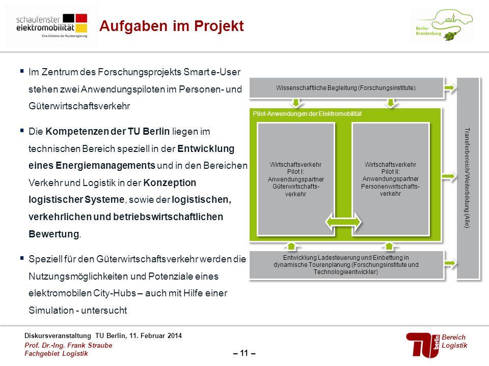– 11 – Diskursveranstaltung TU Berlin, 11. Februar 2014 Prof. Dr.-Ing. Frank Straube Fachgebiet Logistik Bereich Logistik Aufgaben im Projekt Im Zentr