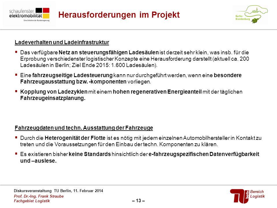 – 13 – Diskursveranstaltung TU Berlin, 11. Februar 2014 Prof. Dr.-Ing. Frank Straube Fachgebiet Logistik Bereich Logistik Herausforderungen im Projekt