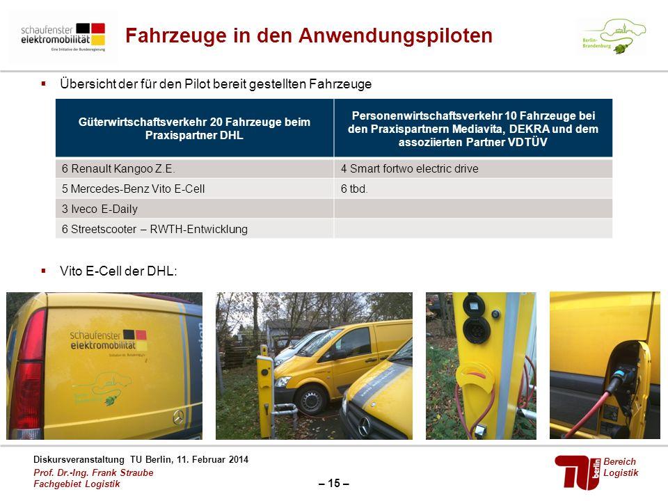 – 15 – Diskursveranstaltung TU Berlin, 11. Februar 2014 Prof. Dr.-Ing. Frank Straube Fachgebiet Logistik Bereich Logistik Fahrzeuge in den Anwendungsp