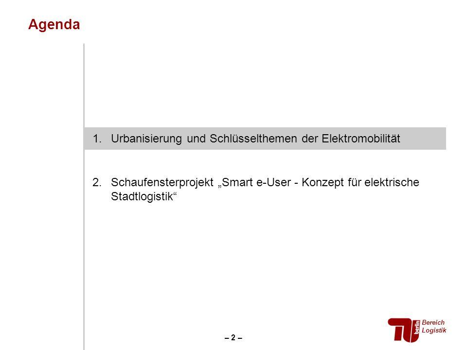 Agenda Bereich Logistik – 2 – 1.Urbanisierung und Schlüsselthemen der Elektromobilität 2.Schaufensterprojekt Smart e-User - Konzept für elektrische St