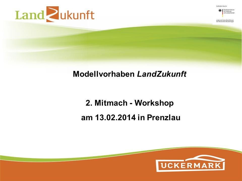 Modellvorhaben LandZukunft 2. Mitmach - Workshop am 13.02.2014 in Prenzlau