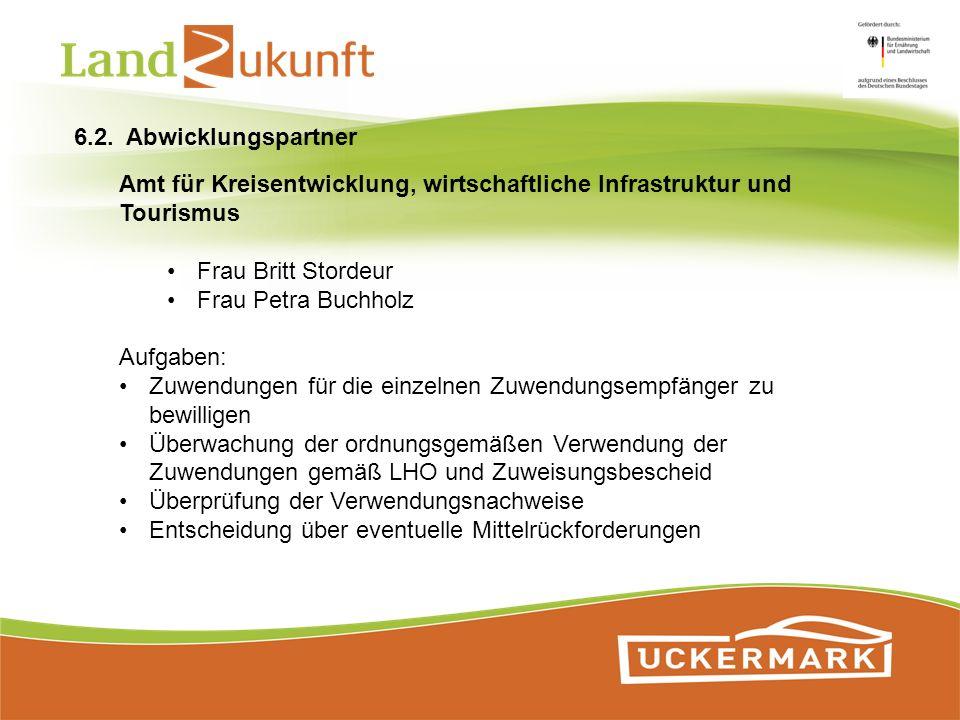 Amt für Kreisentwicklung, wirtschaftliche Infrastruktur und Tourismus Frau Britt Stordeur Frau Petra Buchholz Aufgaben: Zuwendungen für die einzelnen