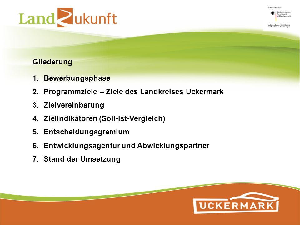 1.Bewerbungsphase 2.Programmziele – Ziele des Landkreises Uckermark 3.Zielvereinbarung 4.Zielindikatoren (Soll-Ist-Vergleich) 5.Entscheidungsgremium 6