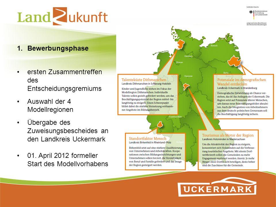 ersten Zusammentreffen des Entscheidungsgremiums Auswahl der 4 Modellregionen Übergabe des Zuweisungsbescheides an den Landkreis Uckermark 01. April 2