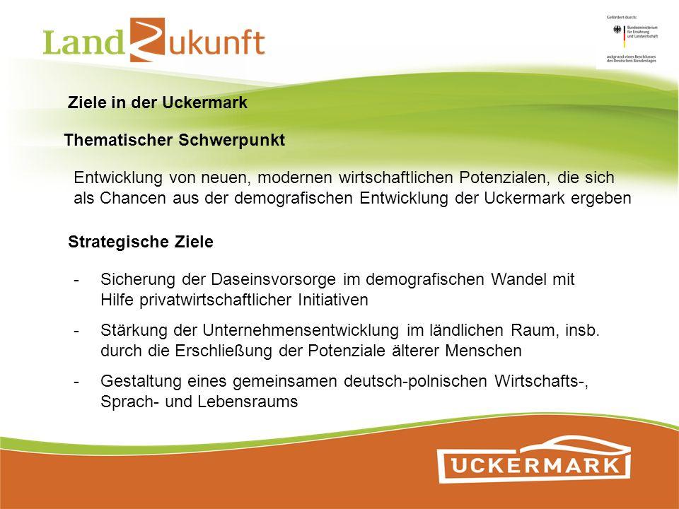 Ziele in der Uckermark Thematischer Schwerpunkt Entwicklung von neuen, modernen wirtschaftlichen Potenzialen, die sich als Chancen aus der demografisc