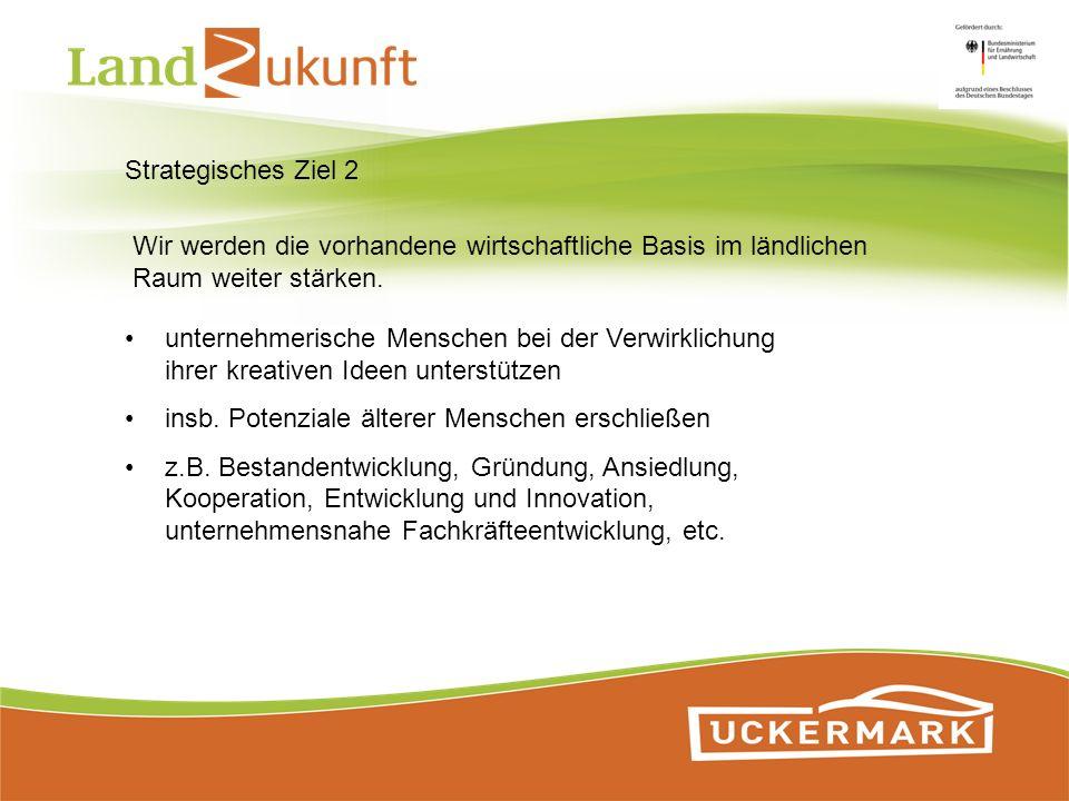 Strategisches Ziel 2 Wir werden die vorhandene wirtschaftliche Basis im ländlichen Raum weiter stärken. unternehmerische Menschen bei der Verwirklichu