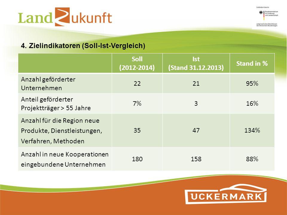 4. Zielindikatoren (Soll-Ist-Vergleich) Soll (2012-2014) Ist (Stand 31.12.2013) Stand in % Anzahl geförderter Unternehmen 222195% Anteil geförderter P