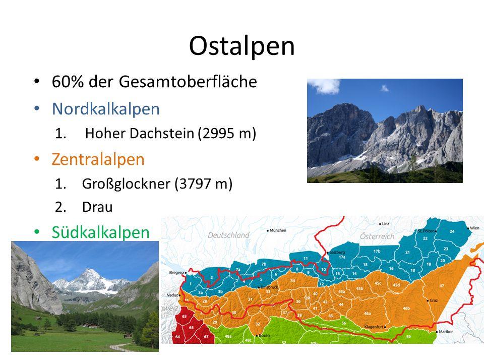 Ostalpen 60% der Gesamtoberfläche Nordkalkalpen 1.Hoher Dachstein (2995 m) Zentralalpen 1.Großglockner (3797 m) 2.Drau Südkalkalpen