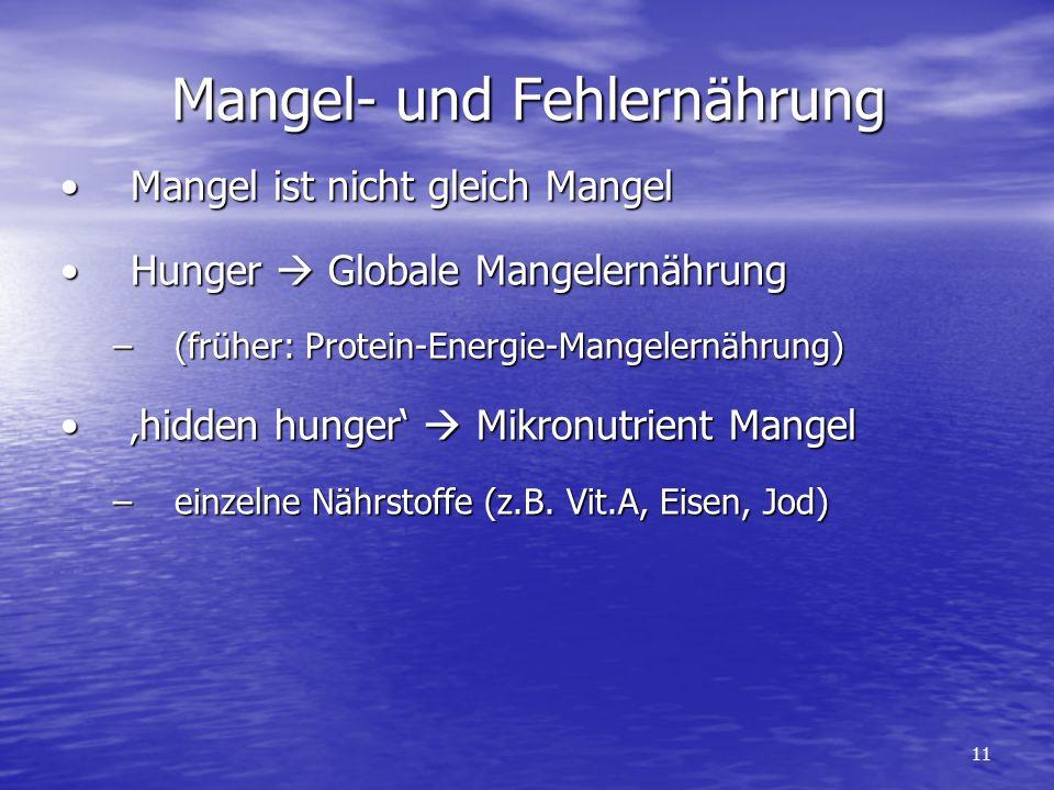 Mangel- und Fehlernährung Mangel ist nicht gleich MangelMangel ist nicht gleich Mangel Hunger Globale MangelernährungHunger Globale Mangelernährung –(früher: Protein-Energie-Mangelernährung) hidden hunger Mikronutrient Mangelhidden hunger Mikronutrient Mangel –einzelne Nährstoffe (z.B.