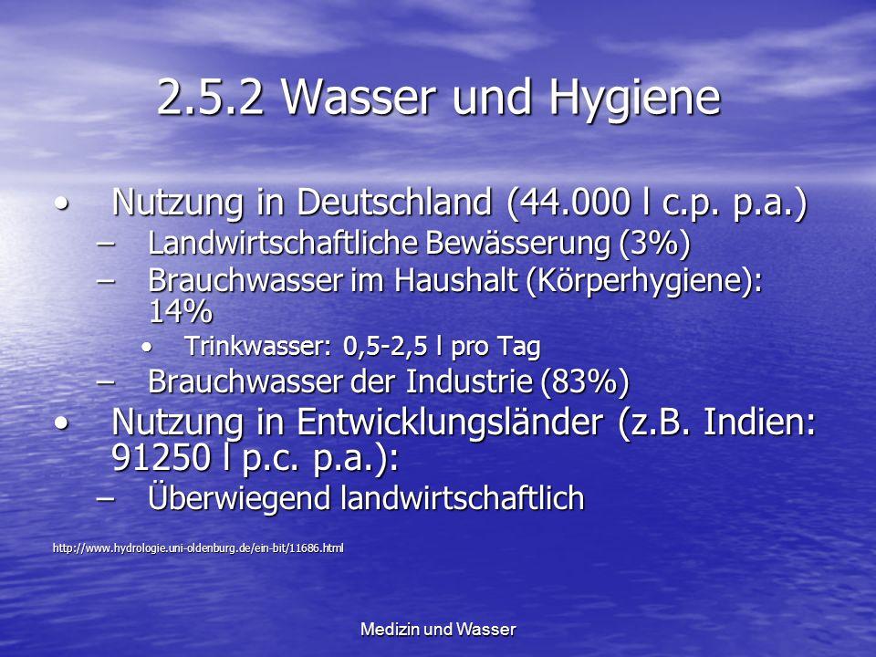 2.5.2 Wasser und Hygiene Nutzung in Deutschland (44.000 l c.p. p.a.)Nutzung in Deutschland (44.000 l c.p. p.a.) –Landwirtschaftliche Bewässerung (3%)