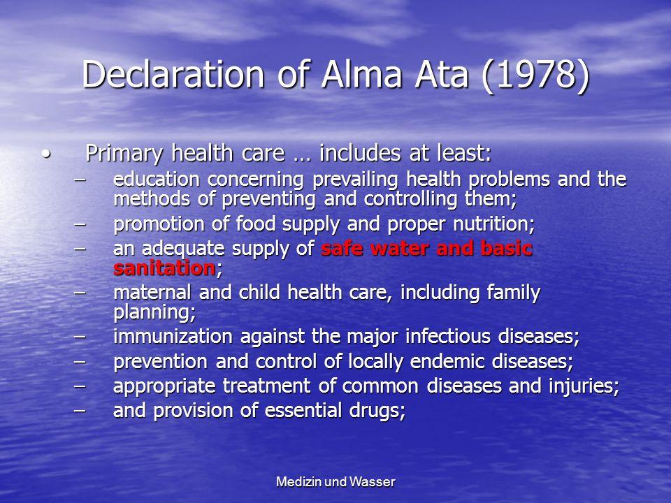 Declaration of Alma Ata (1978) Primary health care … includes at least:Primary health care … includes at least: –education concerning prevailing healt