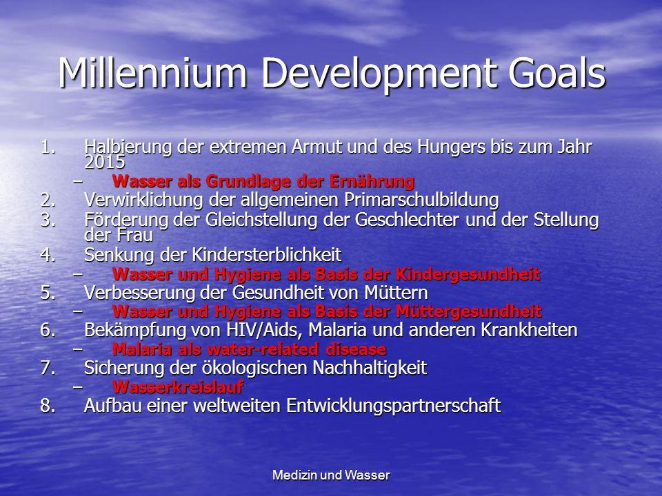 Millennium Development Goals 1.Halbierung der extremen Armut und des Hungers bis zum Jahr 2015 –Wasser als Grundlage der Ernährung 2.Verwirklichung de
