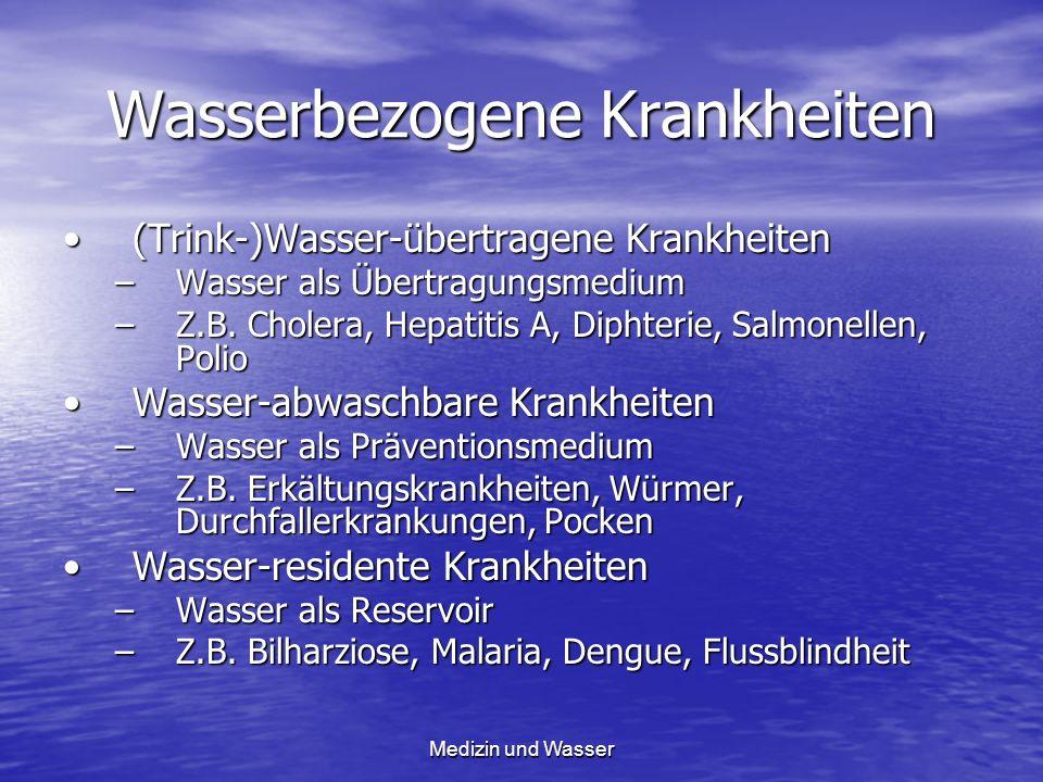 Wasserbezogene Krankheiten (Trink-)Wasser-übertragene Krankheiten(Trink-)Wasser-übertragene Krankheiten –Wasser als Übertragungsmedium –Z.B. Cholera,