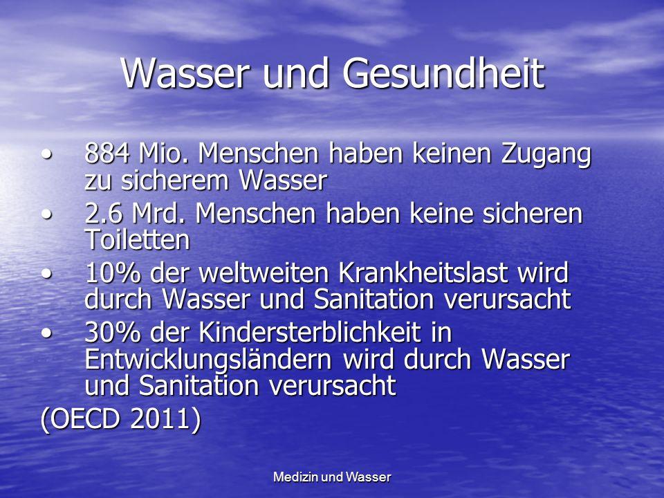 Wasser und Gesundheit 884 Mio. Menschen haben keinen Zugang zu sicherem Wasser884 Mio. Menschen haben keinen Zugang zu sicherem Wasser 2.6 Mrd. Mensch