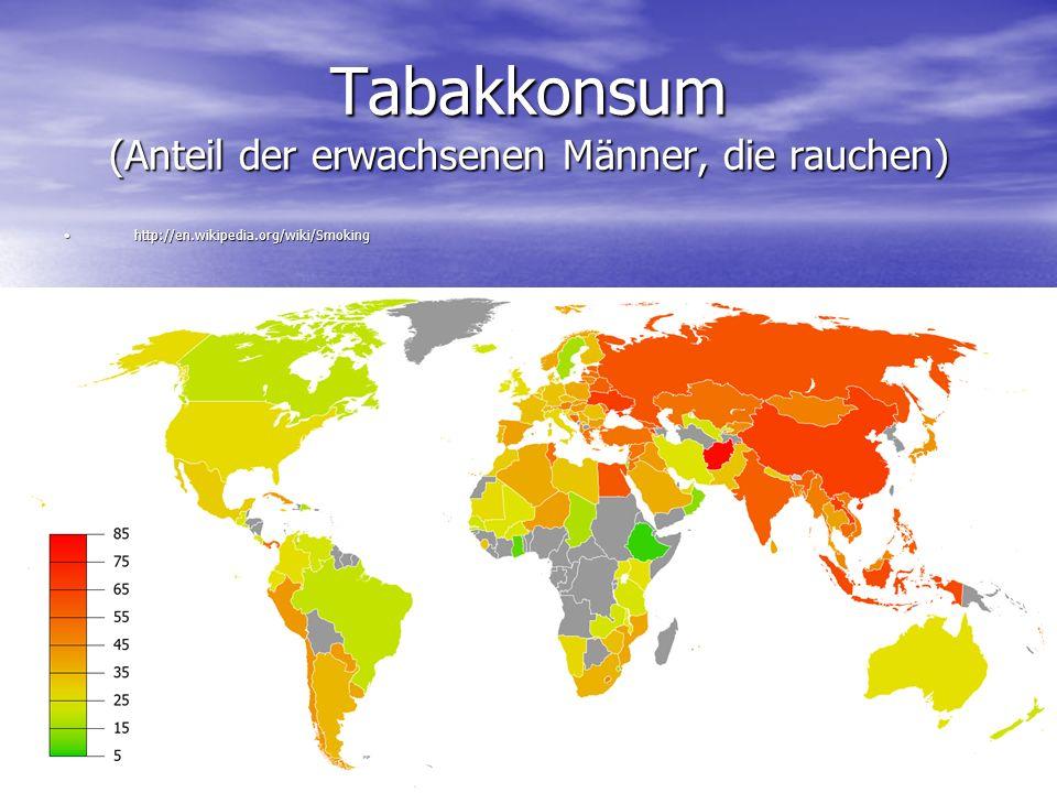 Tabakkonsum (Anteil der erwachsenen Männer, die rauchen) http://en.wikipedia.org/wiki/Smokinghttp://en.wikipedia.org/wiki/Smoking
