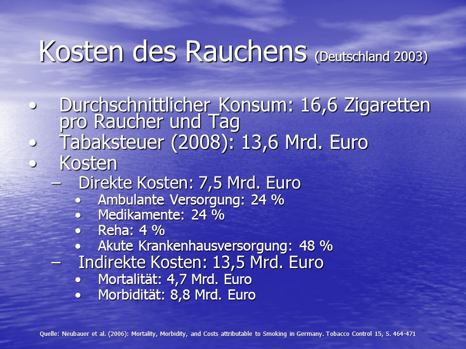Kosten des Rauchens (Deutschland 2003) Durchschnittlicher Konsum: 16,6 Zigaretten pro Raucher und TagDurchschnittlicher Konsum: 16,6 Zigaretten pro Ra