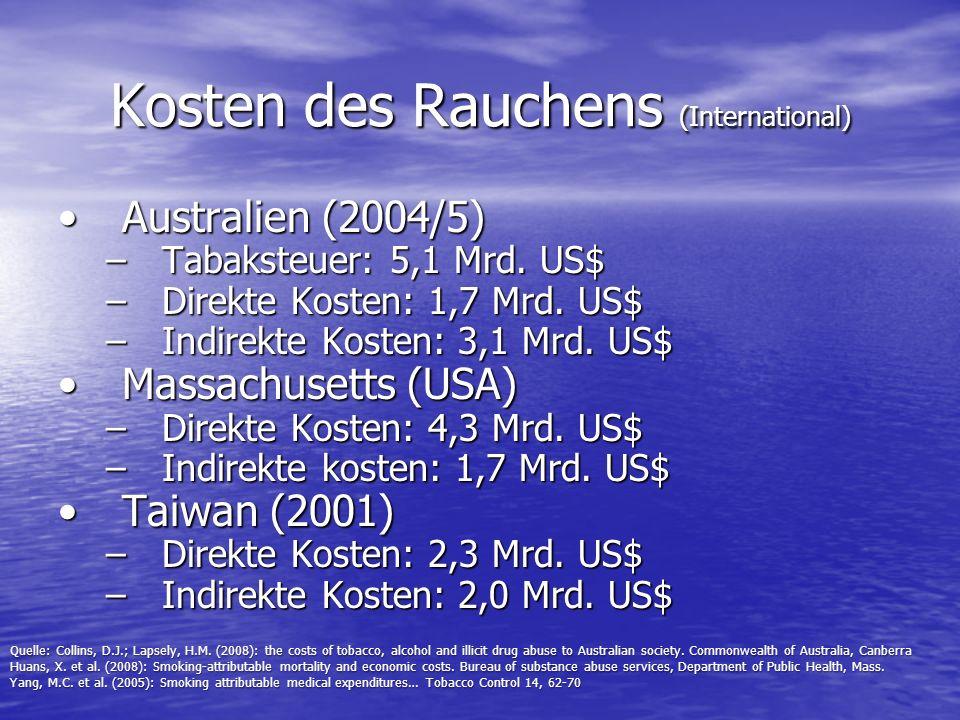 Kosten des Rauchens (International) Australien (2004/5)Australien (2004/5) –Tabaksteuer: 5,1 Mrd. US$ –Direkte Kosten: 1,7 Mrd. US$ –Indirekte Kosten: