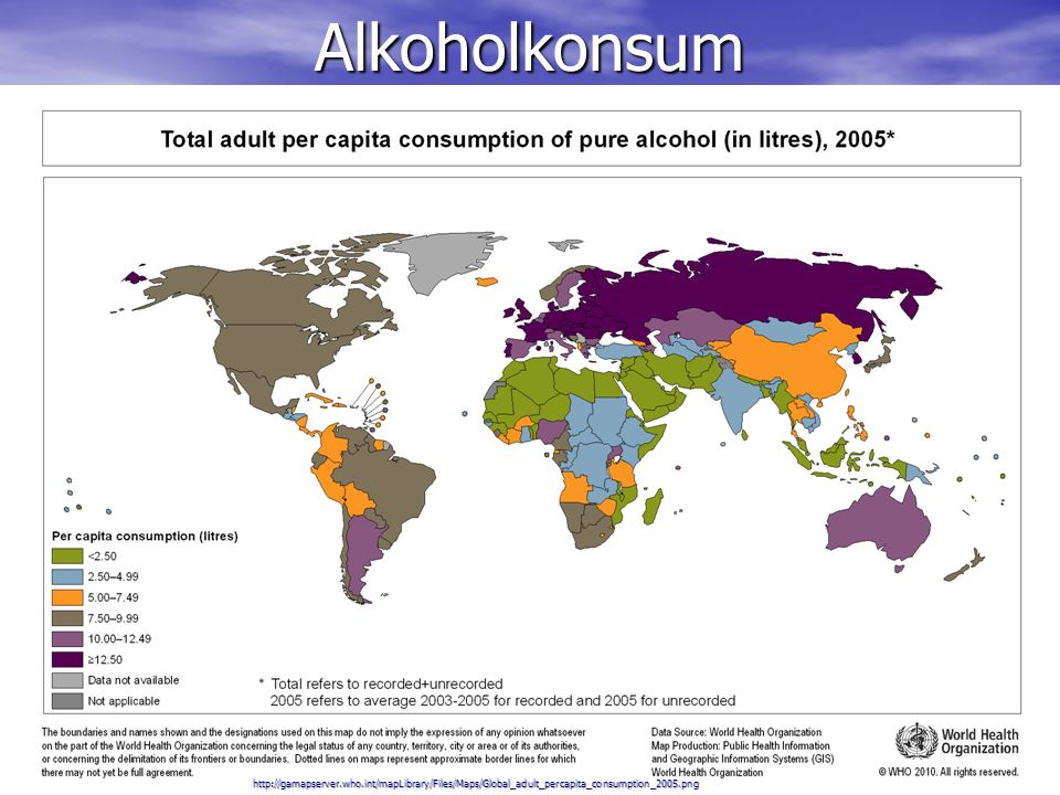 Alkoholkonsum http://gamapserver.who.int/mapLibrary/Files/Maps/Global_adult_percapita_consumption_2005.png