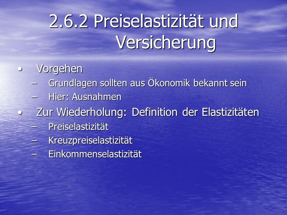 2.6.2 Preiselastizität und Versicherung VorgehenVorgehen –Grundlagen sollten aus Ökonomik bekannt sein –Hier: Ausnahmen Zur Wiederholung: Definition d