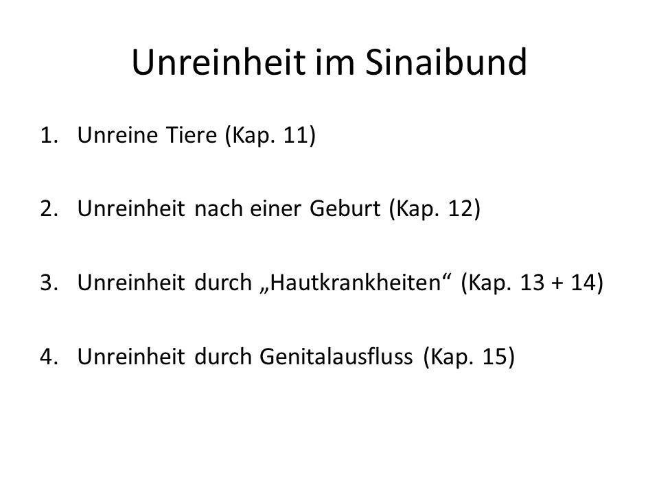 Unreinheit im Sinaibund 1.Unreine Tiere (Kap.11) 2.Unreinheit nach einer Geburt (Kap.