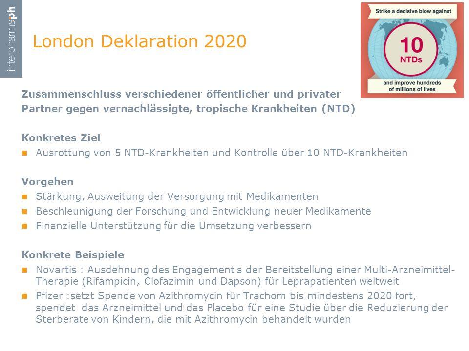 London Deklaration 2020 Zusammenschluss verschiedener öffentlicher und privater Partner gegen vernachlässigte, tropische Krankheiten (NTD) Konkretes Z