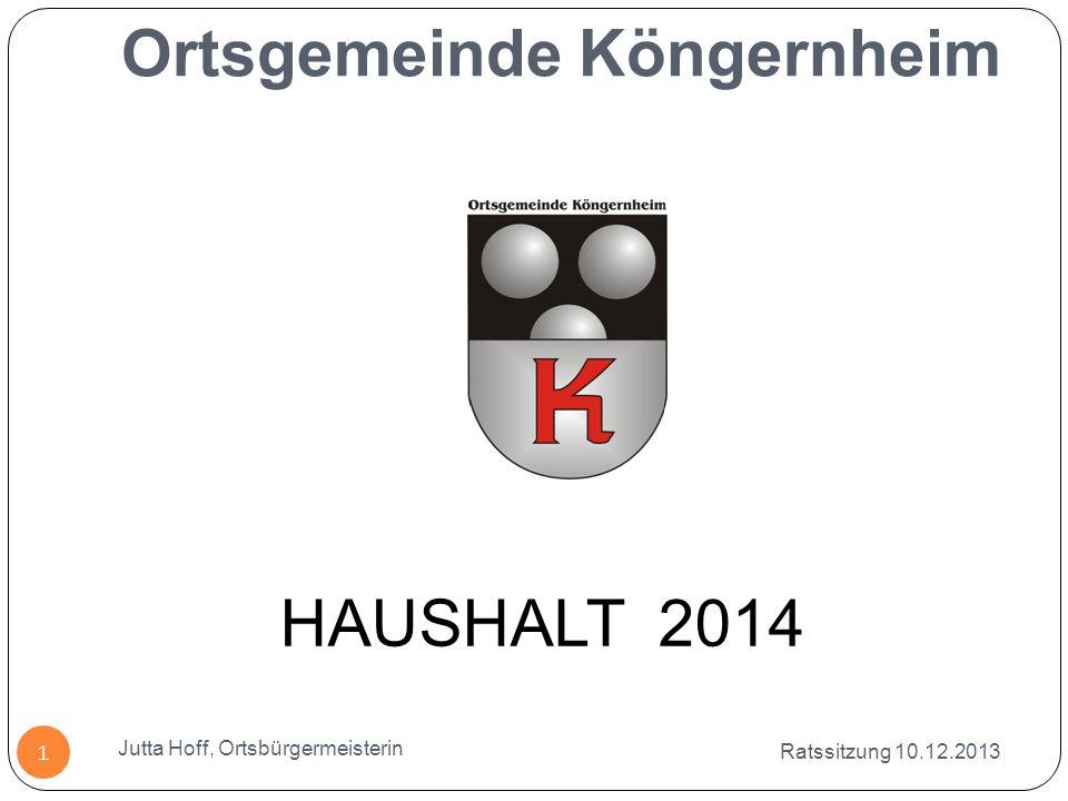 Ortsgemeinde Köngernheim Ratssitzung 10.12.2013 Jutta Hoff, Ortsbürgermeisterin 1 HAUSHALT 2014