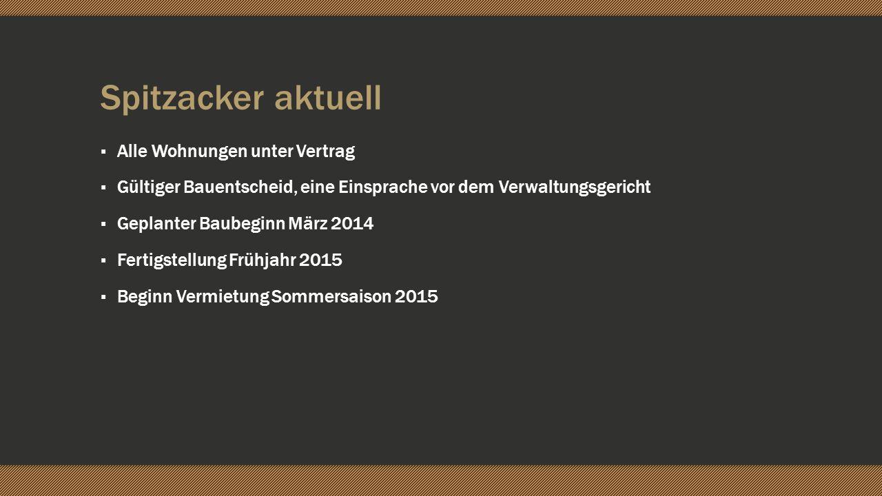 Spitzacker aktuell Alle Wohnungen unter Vertrag Gültiger Bauentscheid, eine Einsprache vor dem Verwaltungsgericht Geplanter Baubeginn März 2014 Fertig
