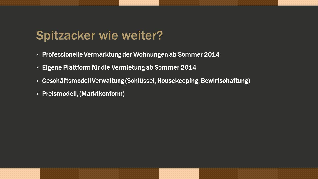 Spitzacker wie weiter? Professionelle Vermarktung der Wohnungen ab Sommer 2014 Eigene Plattform für die Vermietung ab Sommer 2014 Geschäftsmodell Verw