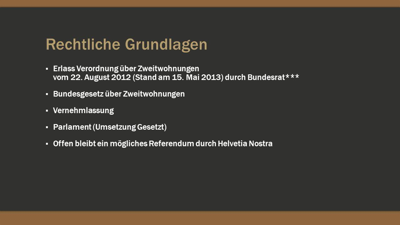 Rechtliche Grundlagen Erlass Verordnung über Zweitwohnungen vom 22. August 2012 (Stand am 15. Mai 2013) durch Bundesrat*** Bundesgesetz über Zweitwohn