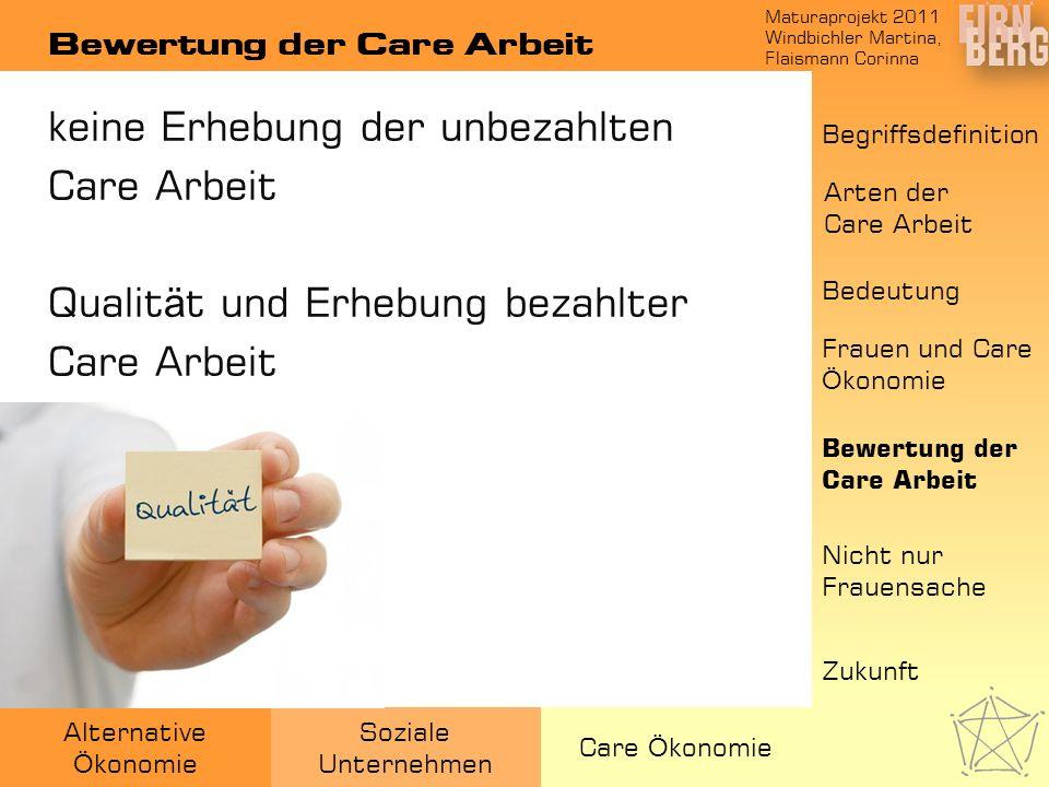 Maturaprojekt 2011 Windbichler Martina, Flaismann Corinna Alternative Ö konomie Soziale Unternehmen Care Ö konomie Bewertung der Care Arbeit Bedeutung