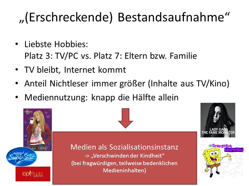 (Erschreckende) Bestandsaufnahme Liebste Hobbies: Platz 3: TV/PC vs. Platz 7: Eltern bzw. Familie TV bleibt, Internet kommt Anteil Nichtleser immer gr