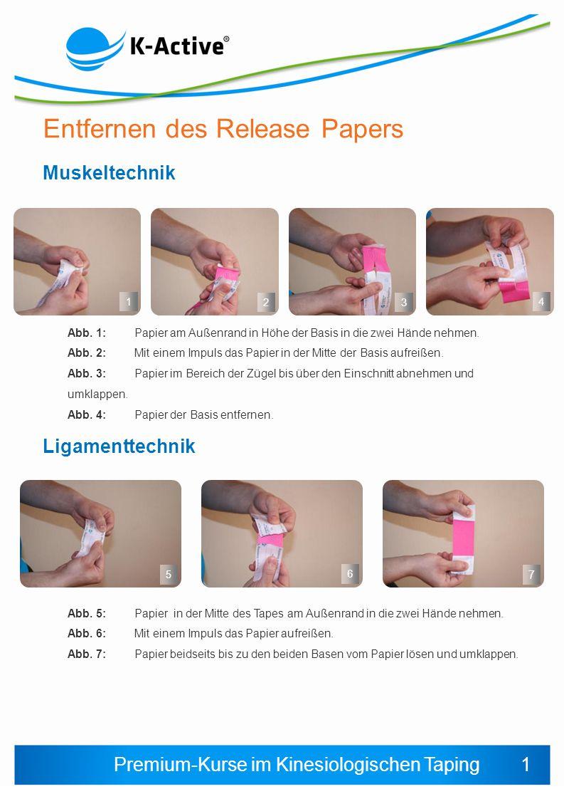 Premium-Kurse im Kinesiologischen Taping Entfernen des Release Papers 123 Muskeltechnik Abb.