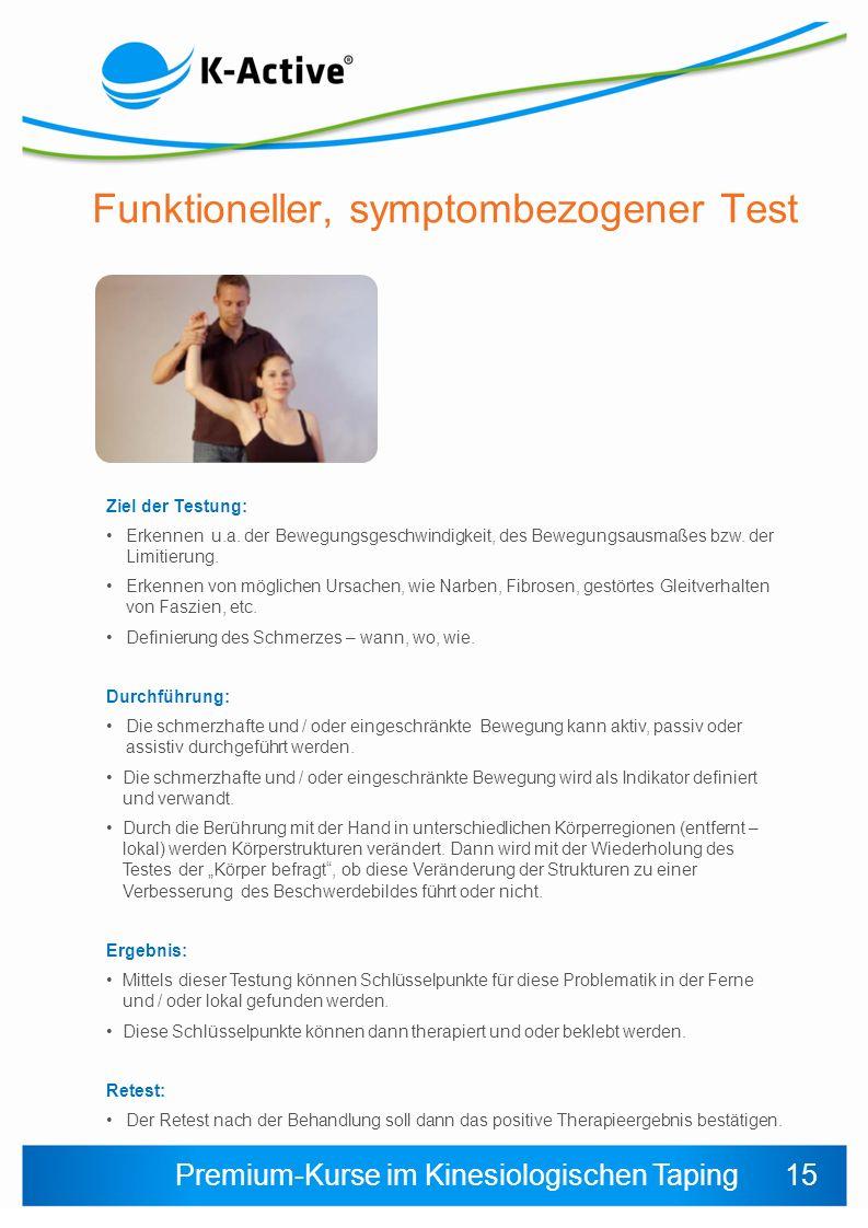 Premium-Kurse im Kinesiologischen Taping Funktioneller, symptombezogener Test Ziel der Testung: Erkennen u.a.
