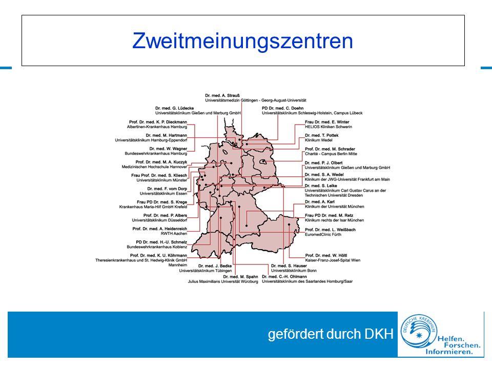 Zweitmeinungszentren gefördert durch DKH
