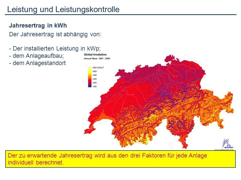 Leistung und Leistungskontrolle Jahresertrag in kWh Der Jahresertrag ist abhängig von: - Der installierten Leistung in kWp; - dem Anlageaufbau; - dem